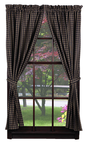 "Cambridge Navy & Tan Plaid Short Panel Curtain 63""L"