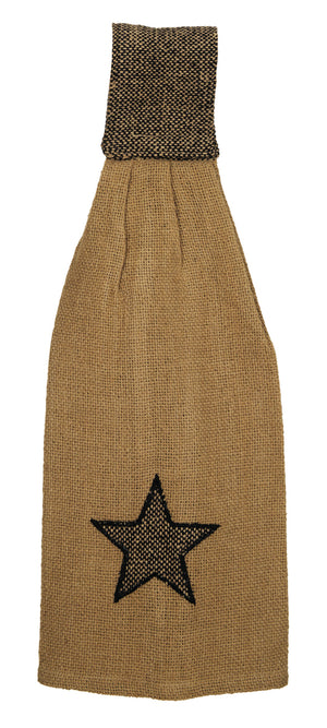 Burlap Star Tan Hanging Dishtowel