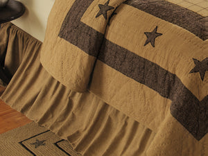 Burlap Star Tan Bed Skirt (Choose Size)