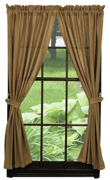 Burlap Natural Tan Short Panel Curtains 63 Quot L Country