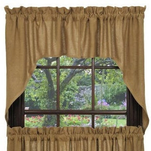 Burlap Natural Tan Swag Curtain