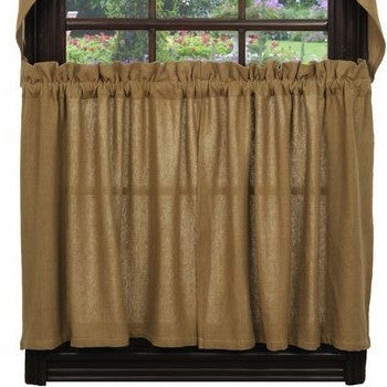 "Burlap Natural Tan Tier Curtains 36""L"