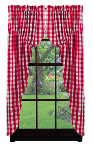 Red Picnic Checkered Prairie Curtain