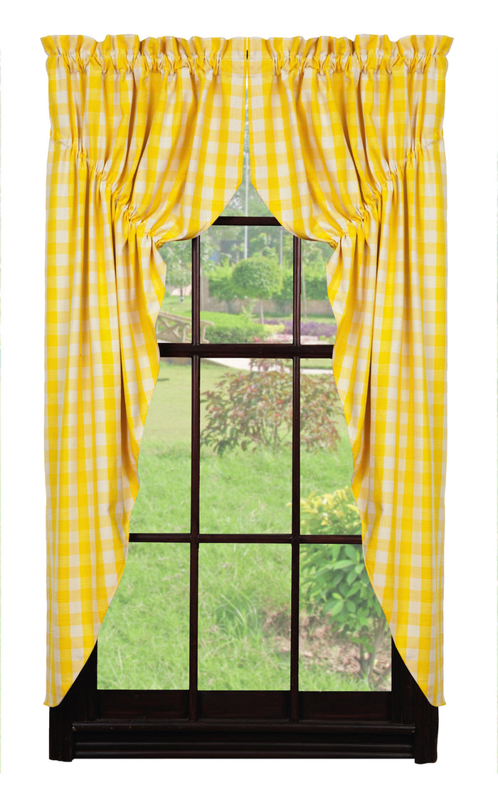 Picnic Yellow Checkered Prairie Curtain