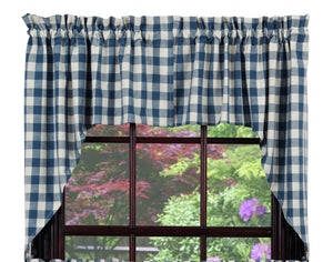 Picnic Blue Swag Curtain Set