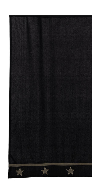 Burlap Star Black Shower Curtain