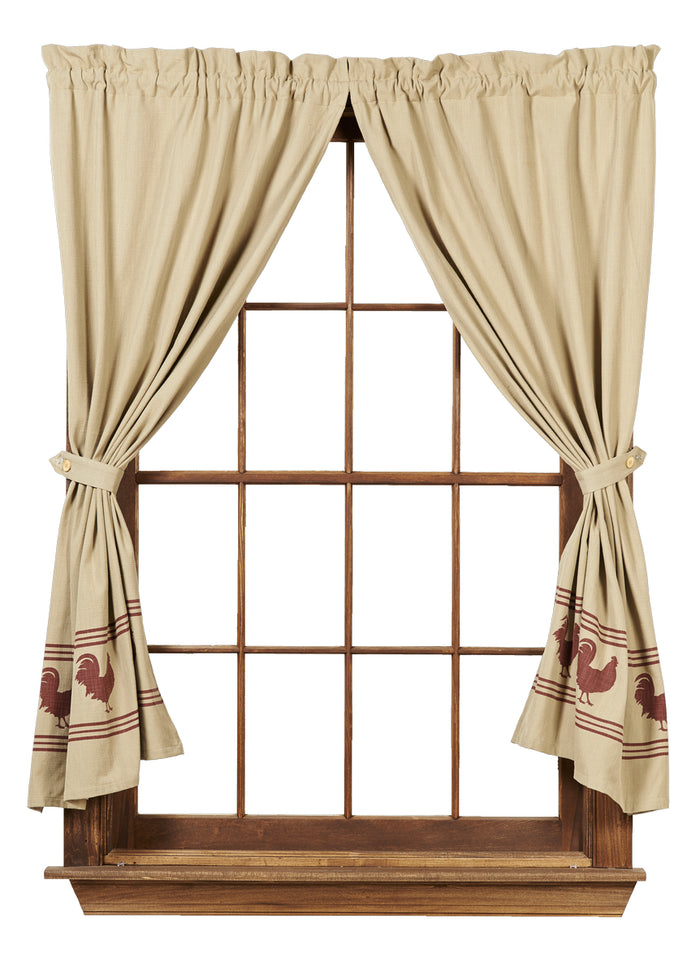 "Red Rooster Short Panel Curtain 63""L"