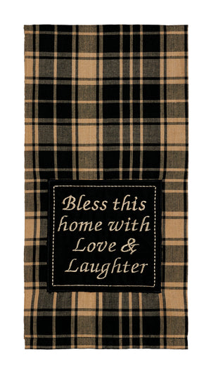 "Heritage Check Black ""Bless This Home"" Dishtowel (Set of 2)"