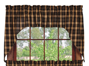 Heritage Check Black Swag Curtain