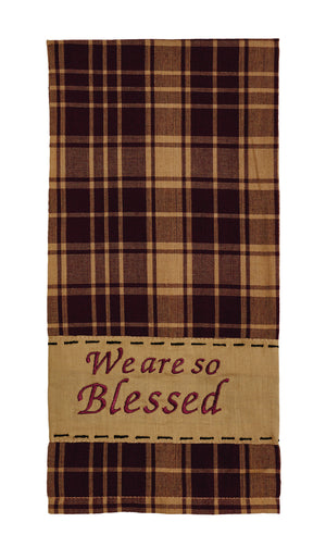 "Heritage Check Burgundy ""So Blessed"" Dishtowel (Set of 2)"
