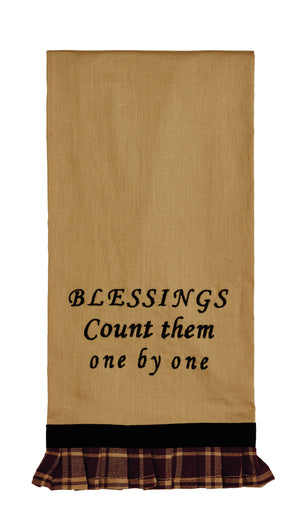 "Heritage Star Burgundy ""Blessings"" Dishtowel (Set of 2)"