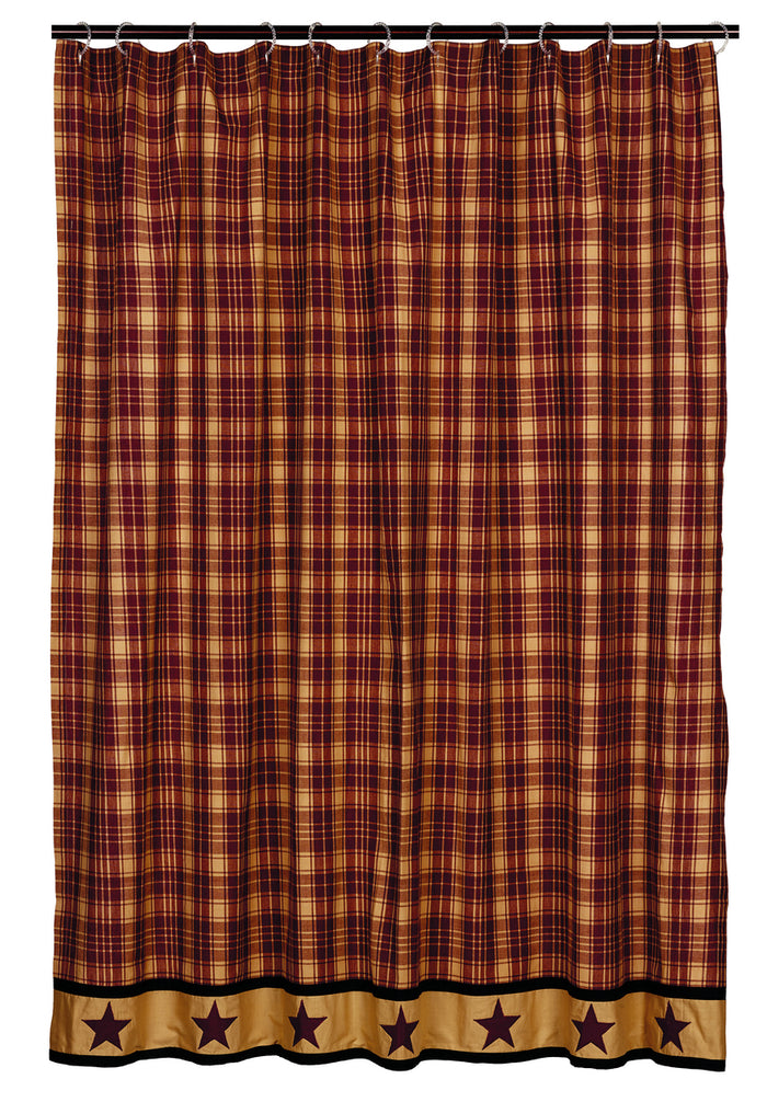Heritage Star Burgundy Shower Curtain