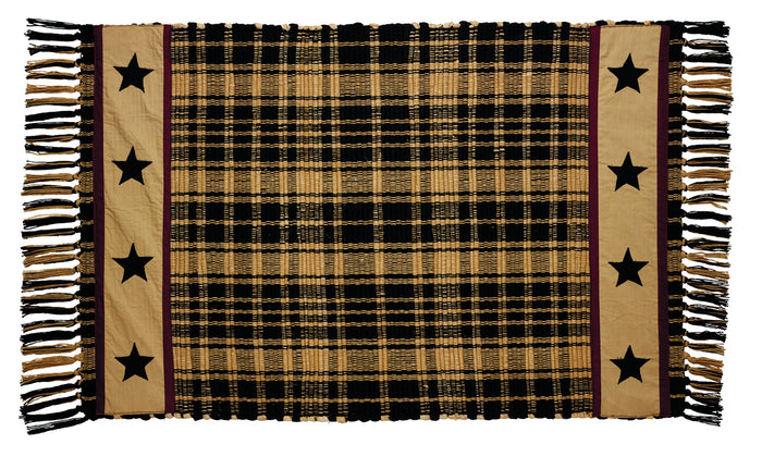 Heritage Star Black Plaid Rag Rug 24x42