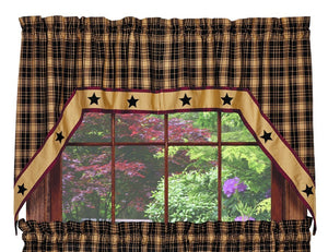 Heritage Star Black Swag Curtain