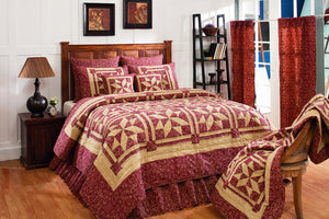 Evelyn Burgundy & Tan Quilted Bedding Set - 3 piece Queen