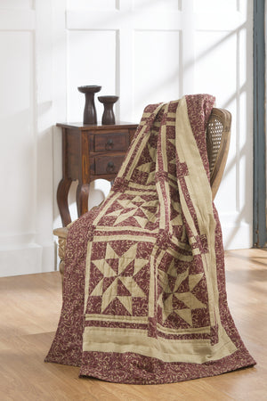 Evelyn Burgundy Quilted Throw