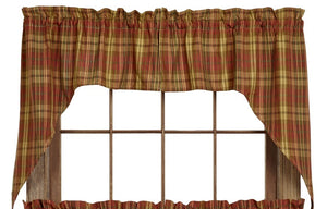 Cinnamon Plaid Swag Curtain