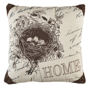 """HOME"" Birdnest 20 inch Pillow"
