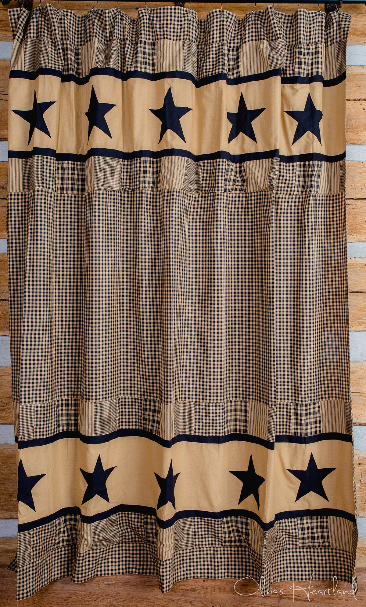 Black and tan shower curtains - Jamestown Black And Tan Shower Curtain Country Primitive Olivia S Heartland Dl Country Barn