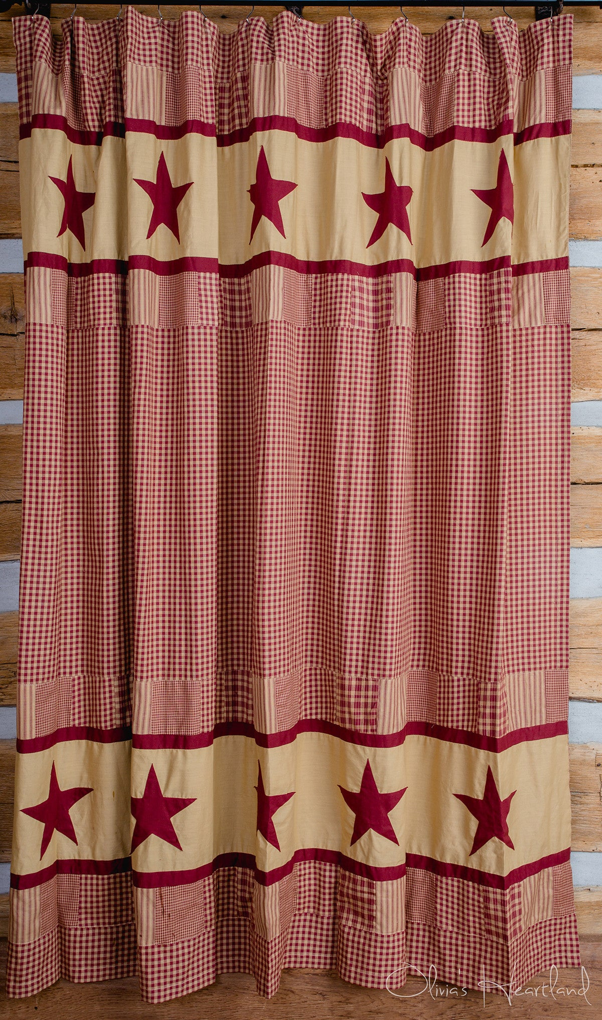 Jamestown Burgundy And Tan Shower Curtain