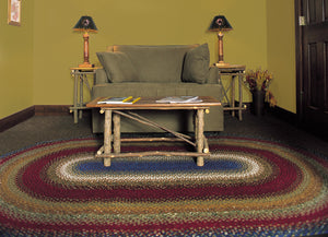 Log Cabin Step Cotton Braided Rug