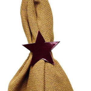 Burgundy Star Napkin Rings - Set of 6