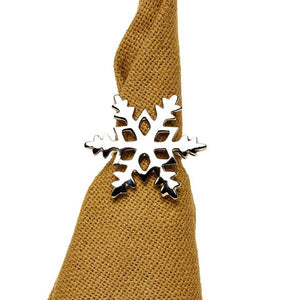Silver Snowflake Napkin Rings - Set of 6