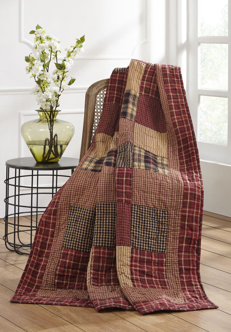 Rutherford Quilted Throw Country Primitive Quilt Dl