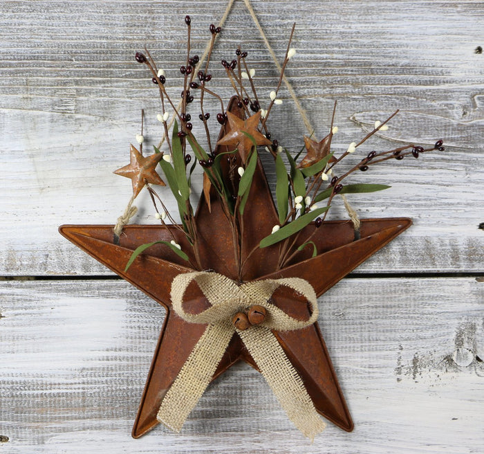 Tin Star Basket with Pip Berries 12""