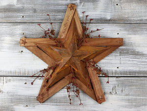 Wooden & Tin Star w/ PIP Berries - 18""