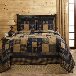 Alexander Star Navy Blue and Tan Quilt Set | Olivia's Heartland