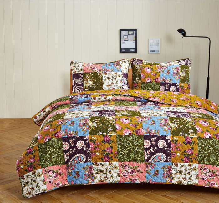 Antique Bloom Quilted Bedding Set - 3 pc. Queen/Full