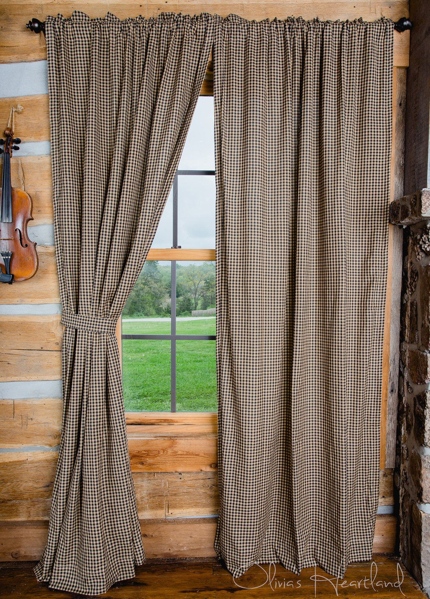 Black Tan Checkered Panel Curtains