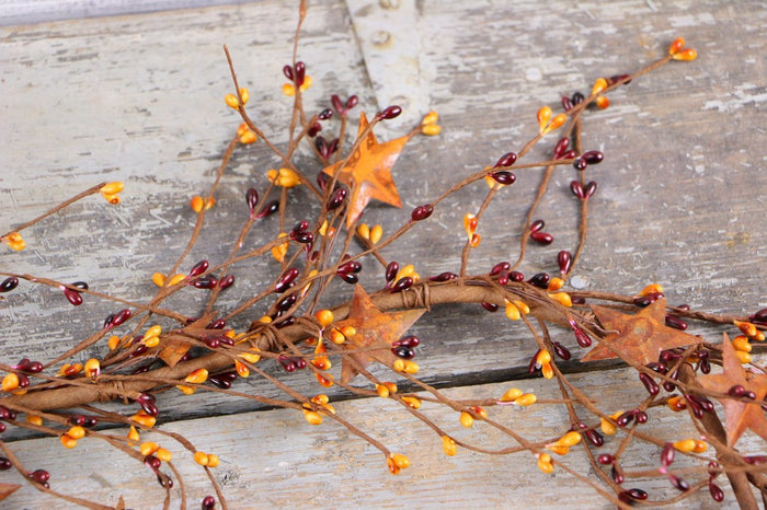 Burgundy & Gold PIP Berry & Rusty Stars Garland - 60""