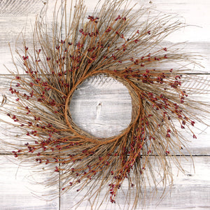 Burgundy Primitive Pip Berry Twig Wreath - 22""