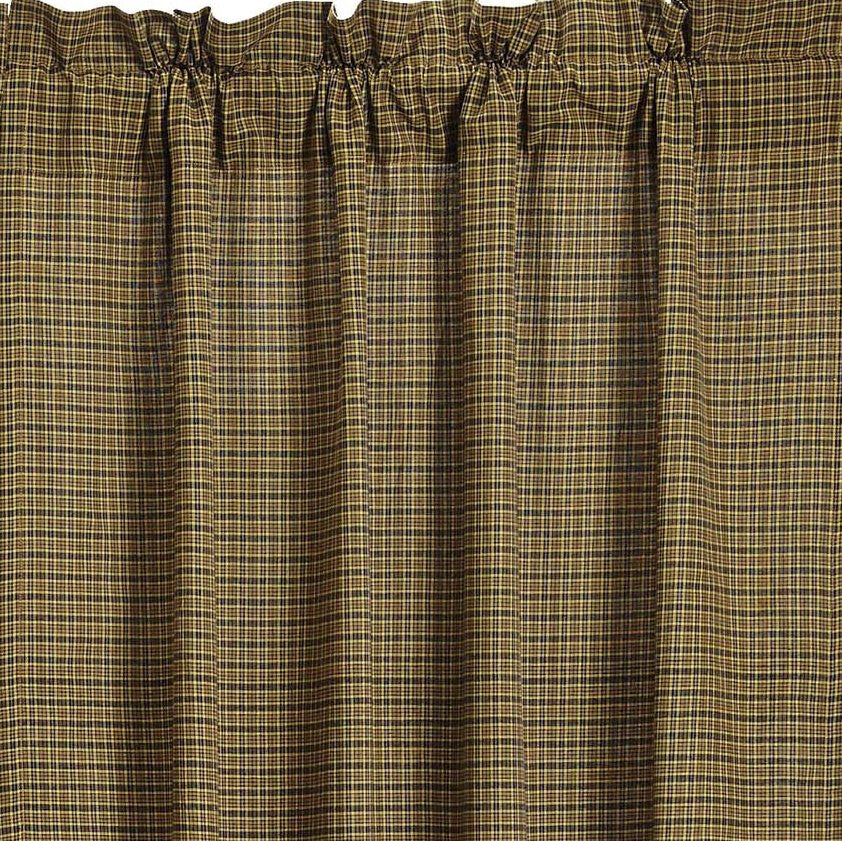 Tea Cabin Green Plaid Short Panel Curtains 63L