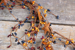 Colonial Americana PIP Berry & Rusty Star Garland 40""
