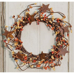 "4"" PIP Berry Wreath  Pumpkin/Mustard  w/ Stars"