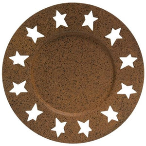 Rust & Black Star Candle Plate