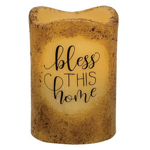 Bless This Home Pillar Candle