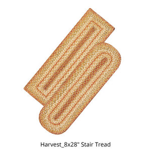 "Harvest 8""x28"" Jute Braided Stair Tread or Runner"