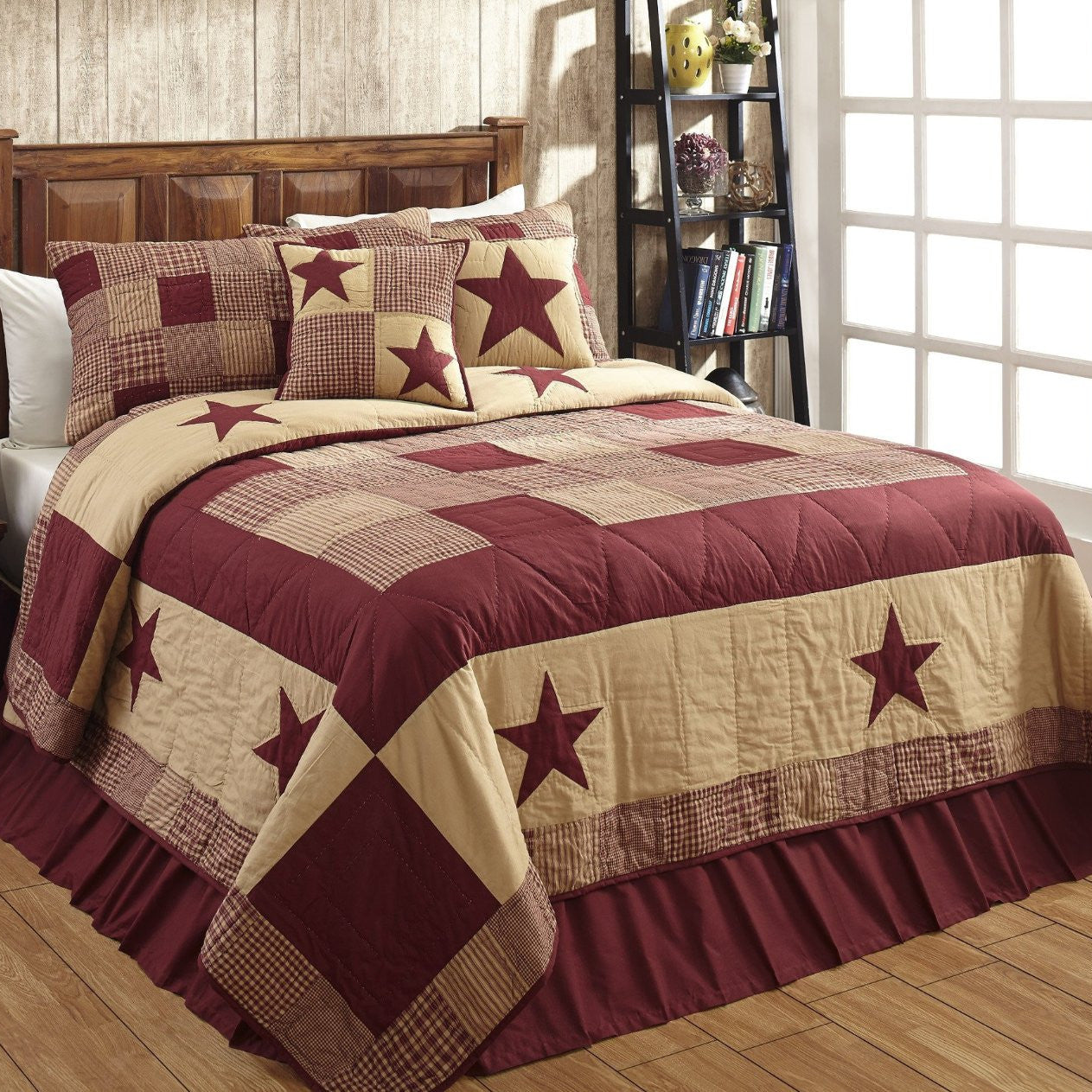 Jamestown Burgundy Tan Quilted Bedding Set 3pc Queen Dl Country Barn