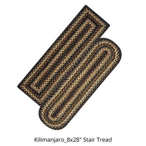 "Kilimanjaro 8""x28"" Jute Braided Stair Tread or Runner"