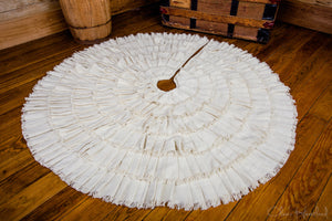 Creme Burlap Ruffled Tree Skirt 48""