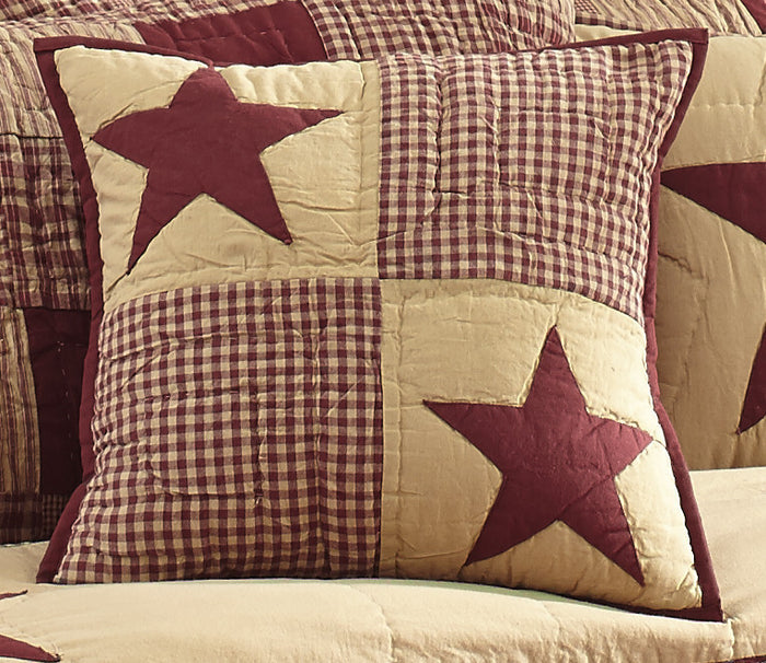 Jamestown Burgundy and Tan Quilted Pillow Cover - 16 inch