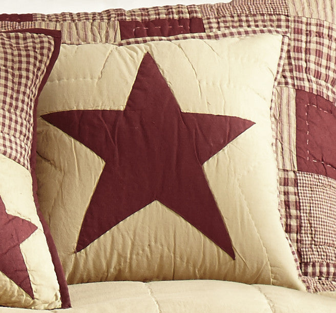 Burgundy and Tan Star Quilted Pillow Cover - 16 inch