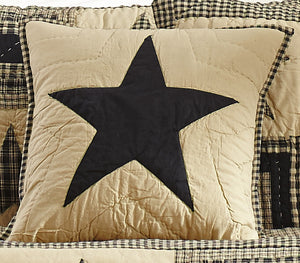 Black and Tan Star Quilted Pillow Cover - 16 inch