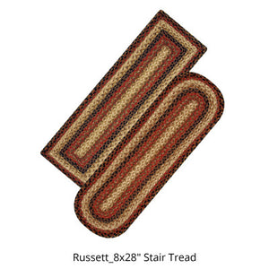"Russett 8""x28"" Jute Braided Stair Tread or Runner"