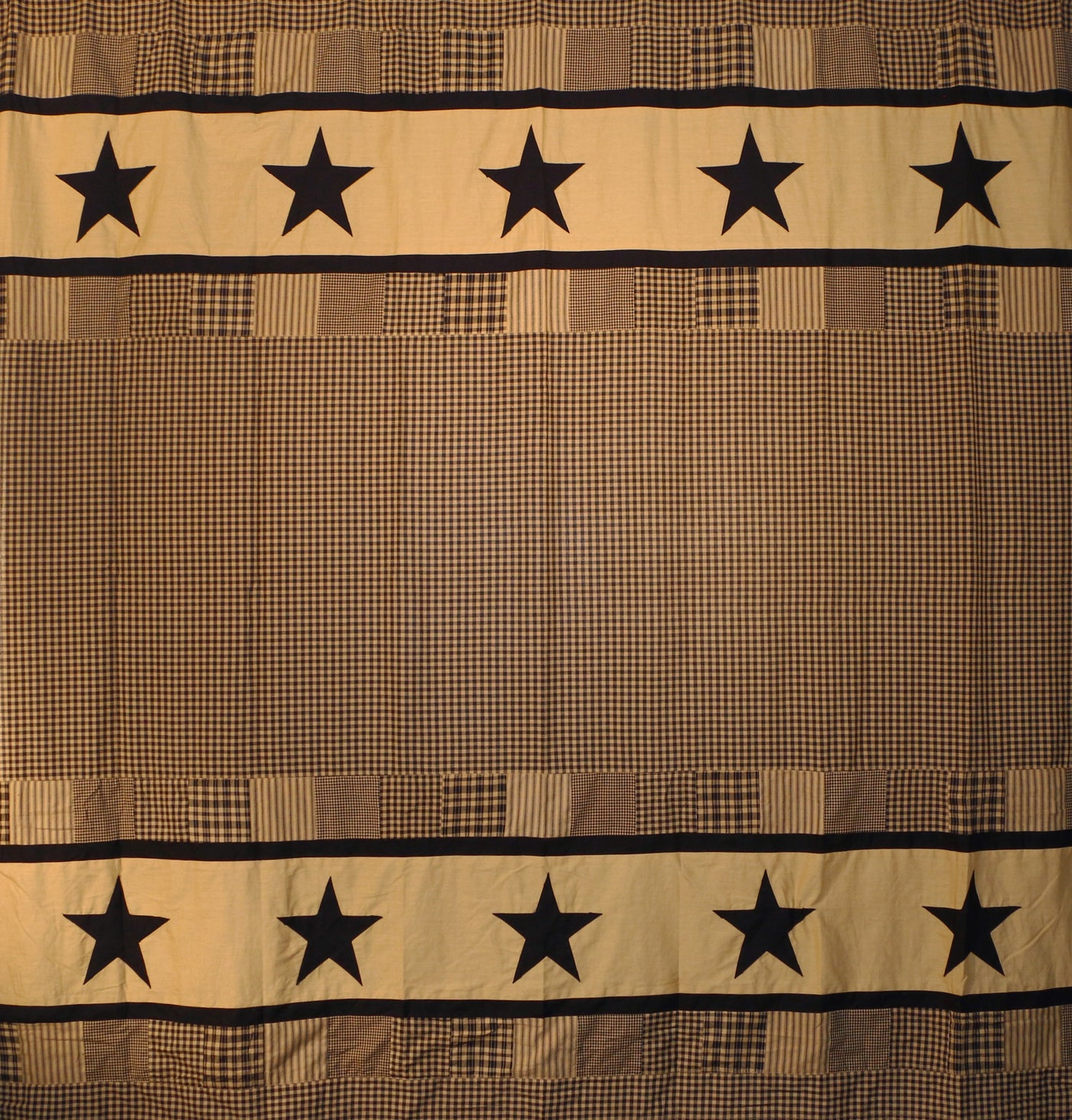 Jamestown Black And Tan Shower Curtain Country Primitive