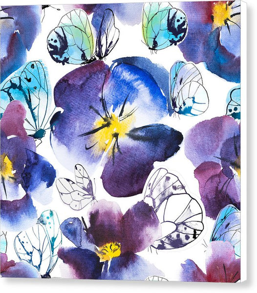 Pansy And Butterflies - Canvas Print